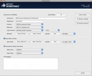 Export Dialog und Bildgroesse in der 360 Shots Software