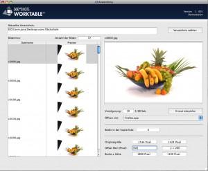 Bildausschnitte und Dateinamen in der Worktable Software
